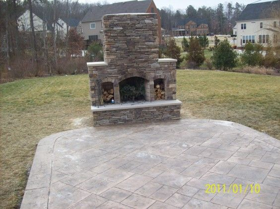 Stamped Concrete Fireplaces : Custom fireplace and stamped concrete patio hoping