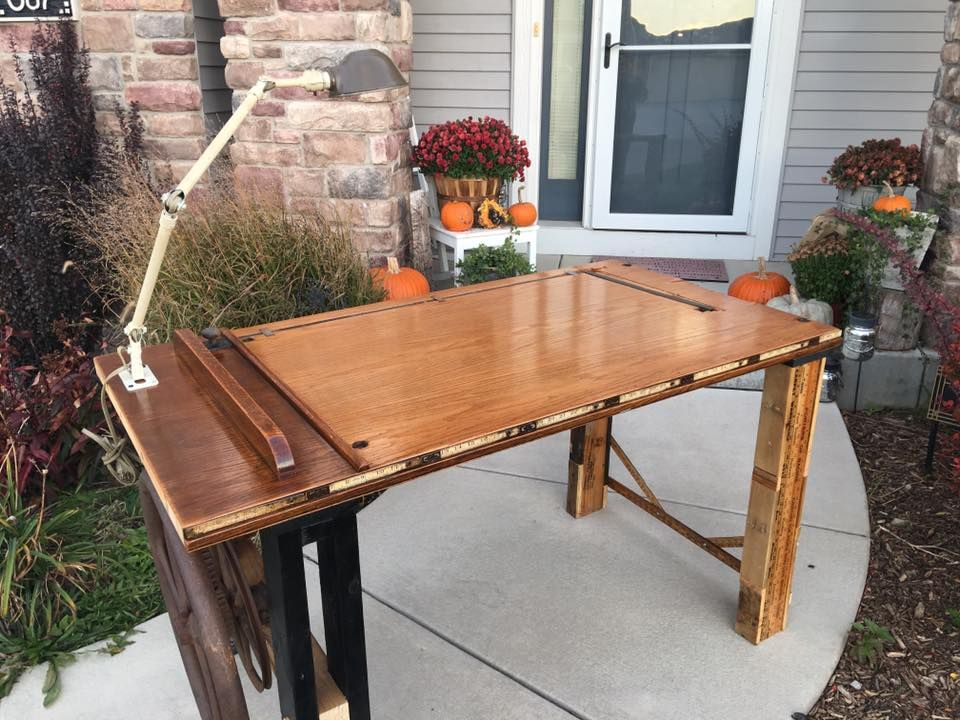 Table Made From Old School House Door Corn Shucker Gears