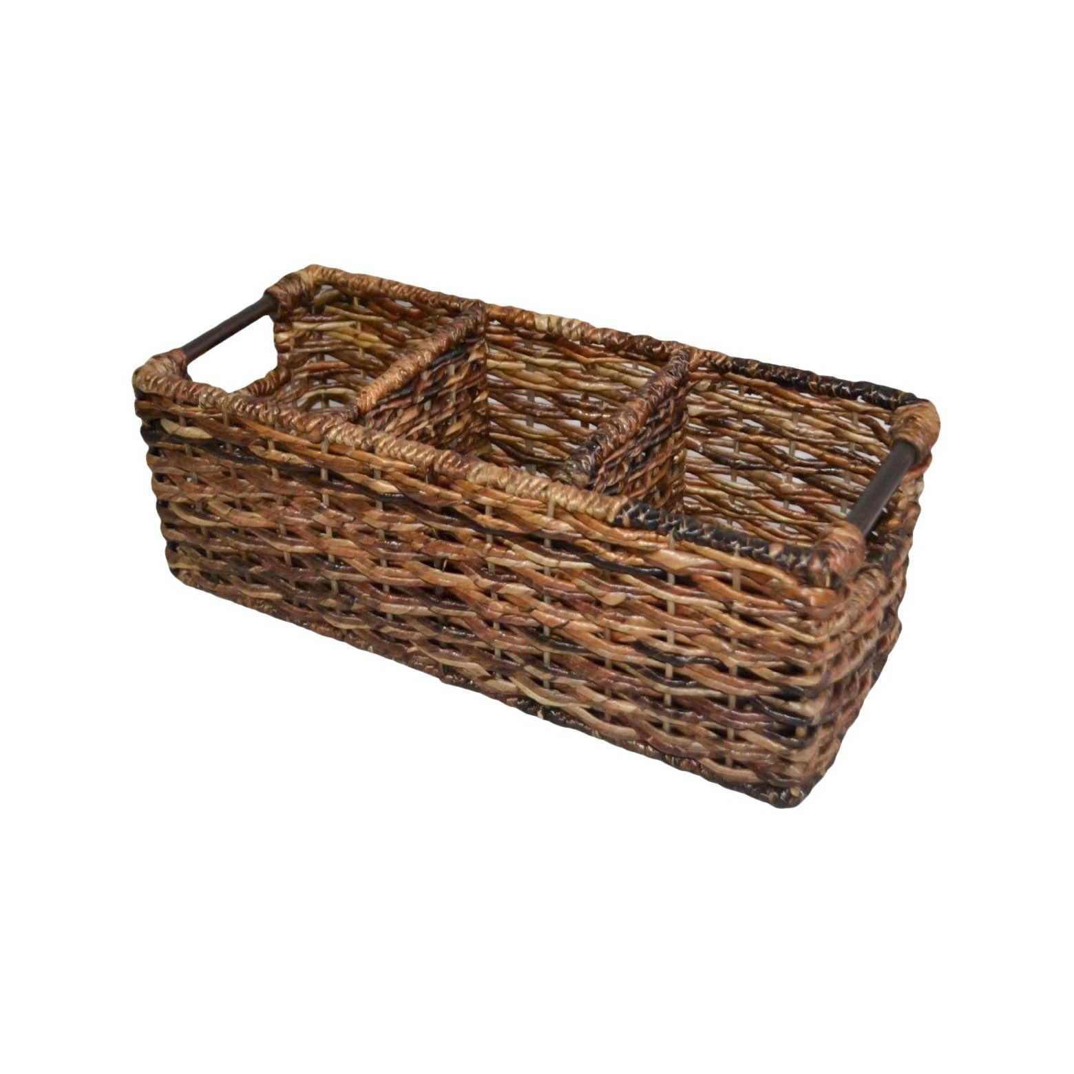 Exceptional ... Built In Handlesu003cbru003eu003cbru003eGet A Chic Place To Store Items With The Wicker  3 Compartment Media Bin In Dark Global Brown From Threshold. This Wicker  Basket ...