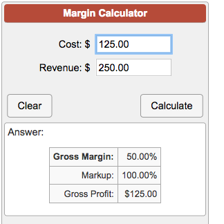 Calculate Gross Margin On A Product Cost And Selling Price Including Profit Margin And Mark Up Percentag Price
