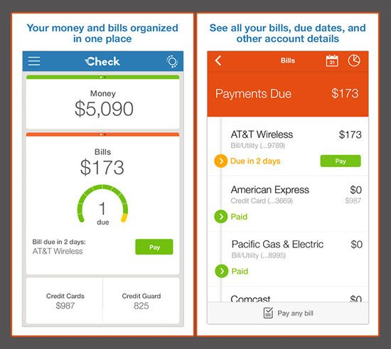 check mobile bill pay banking money credit card manager