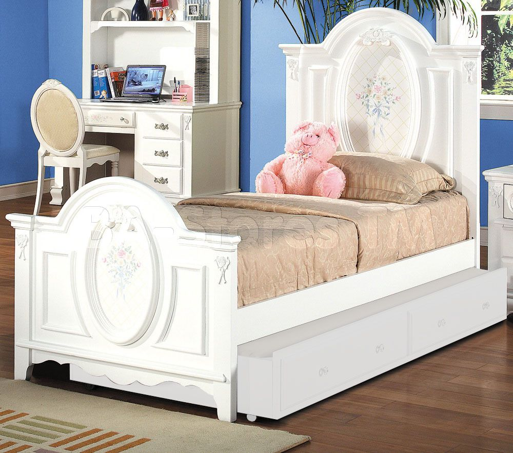 Flora White Panel Bed by Acme Furniture White panel beds