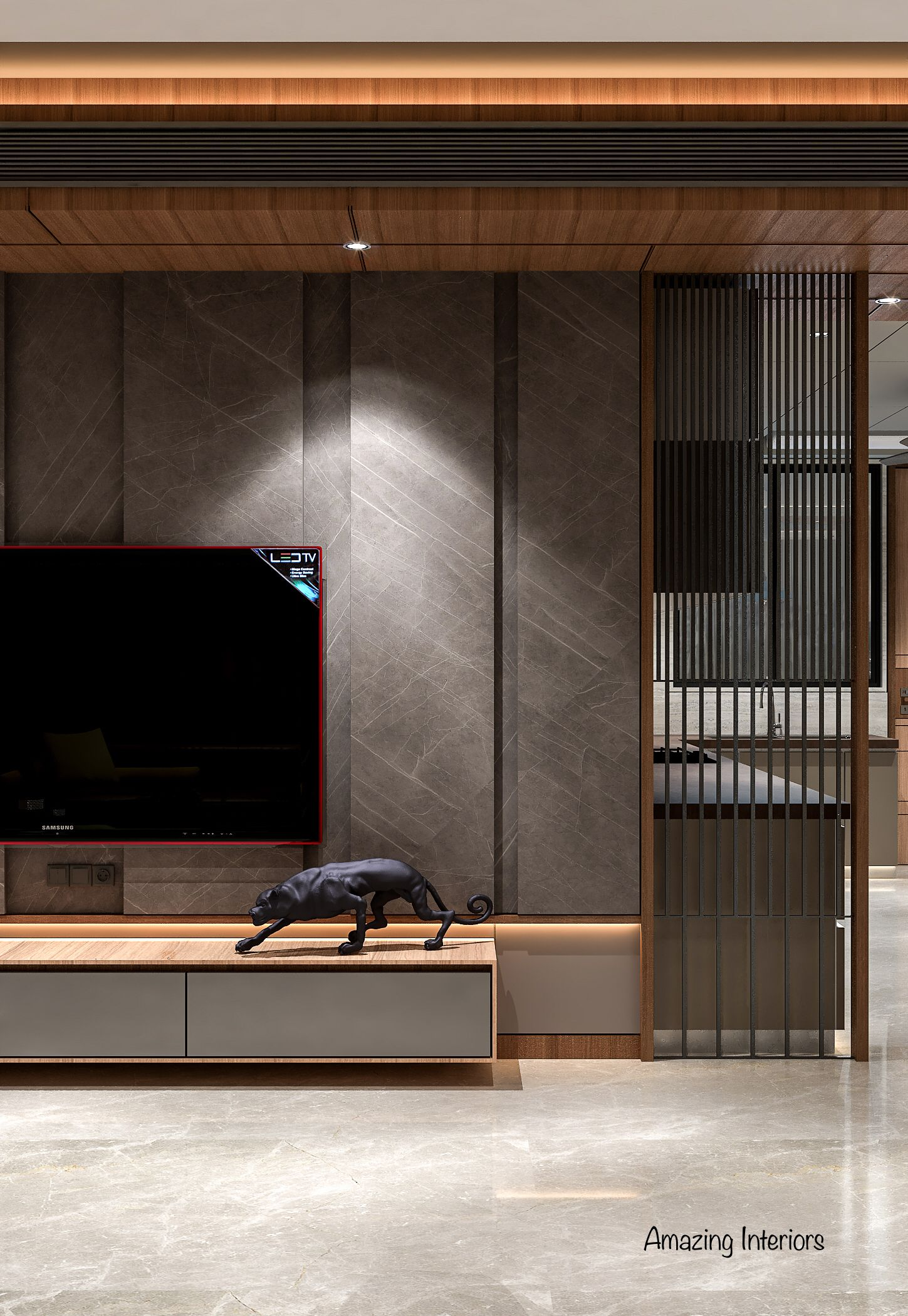 #wooden #cabinets #living #room