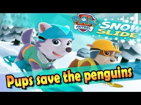 Paw Patrol Everest Save the Penguins. Video game movie Snow Slide for ki...