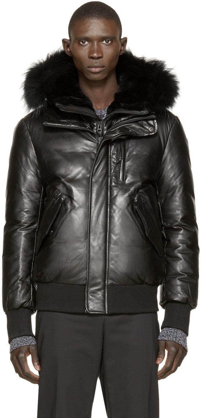 4c68275c3ab Mackage SSENSE Exclusive Black Leather Glen Down Jacket