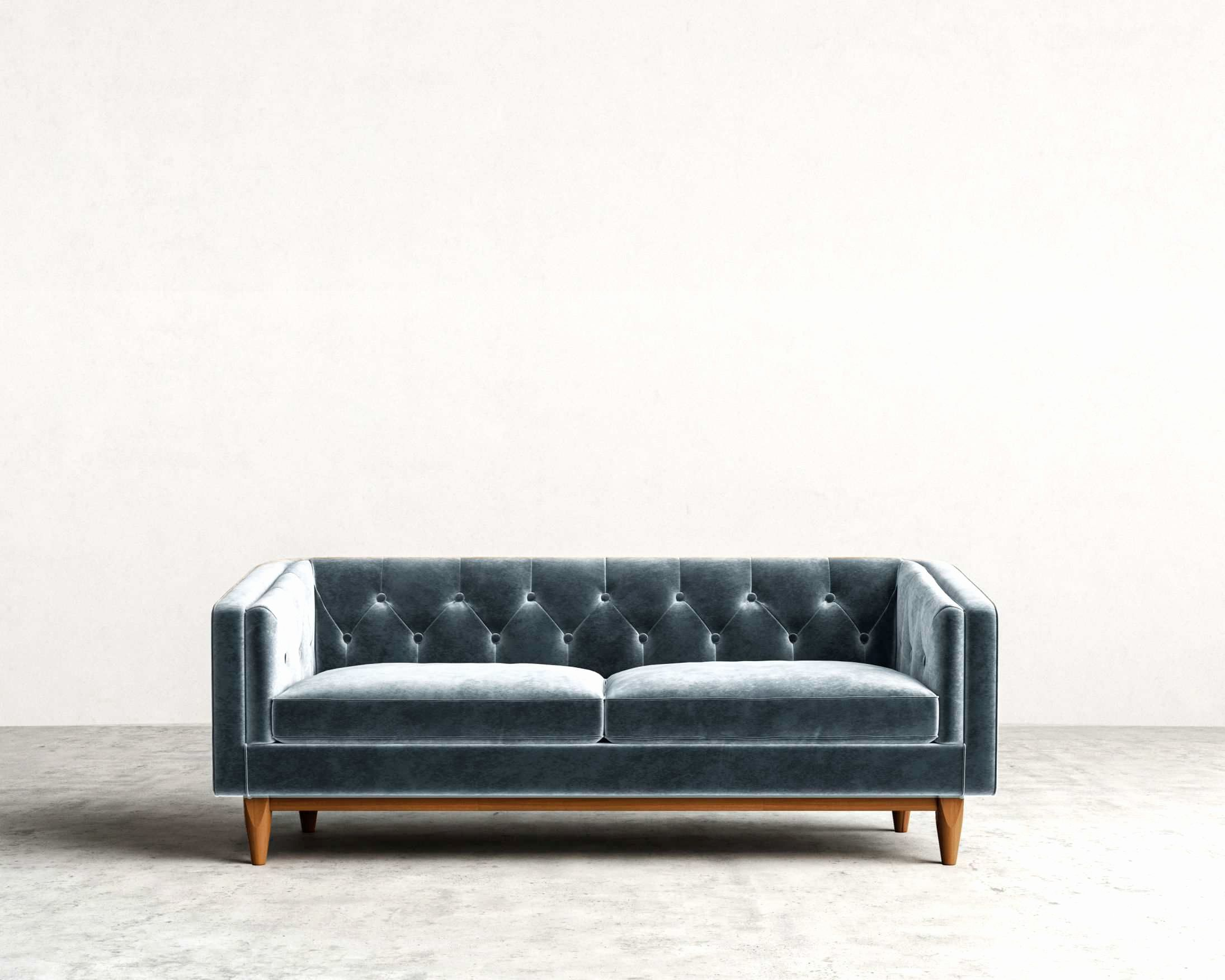 Great low back mid century modern tufted back sofa in a ...