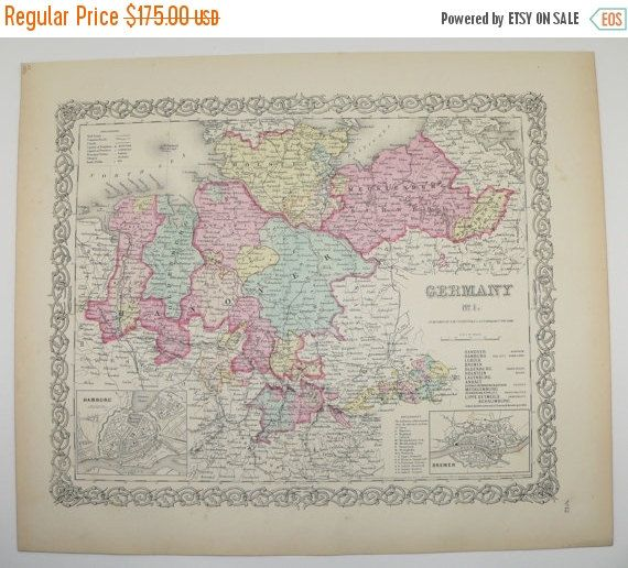 German Wedding Gift Ideas: Antique Map Of Germany Northern, 1856 Colton Map, Old