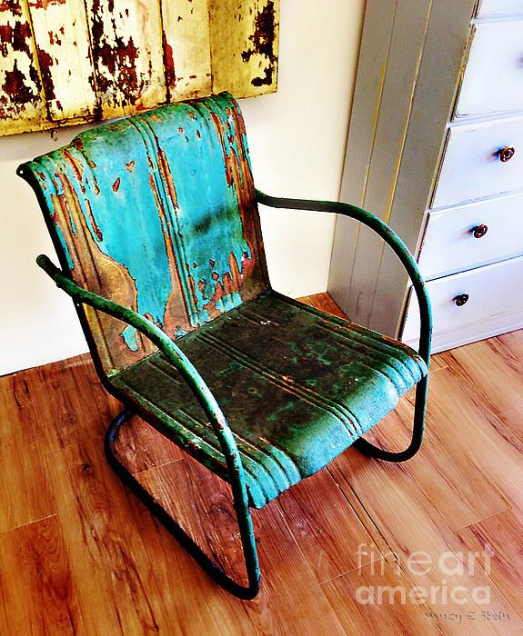 Blue Rusty Chair Nancy Stein Adirondack Chairs For Sale Vintage Metal Chairs World Market Dining Chairs