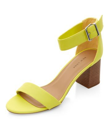 Lime Green Ankle Strap Block Heel Sandals | New Look | Style ...