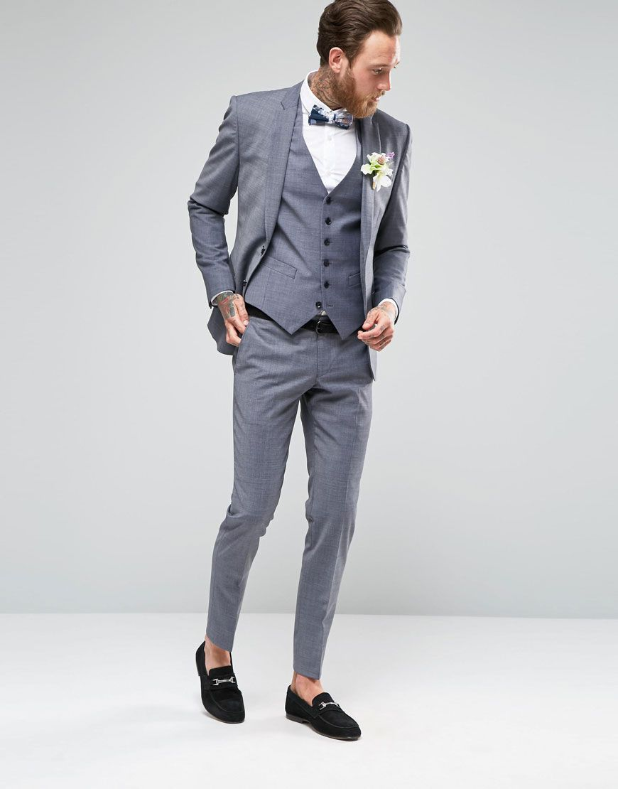 8 Savile Row Melange Grey Wedding Suit In Skinny Fit