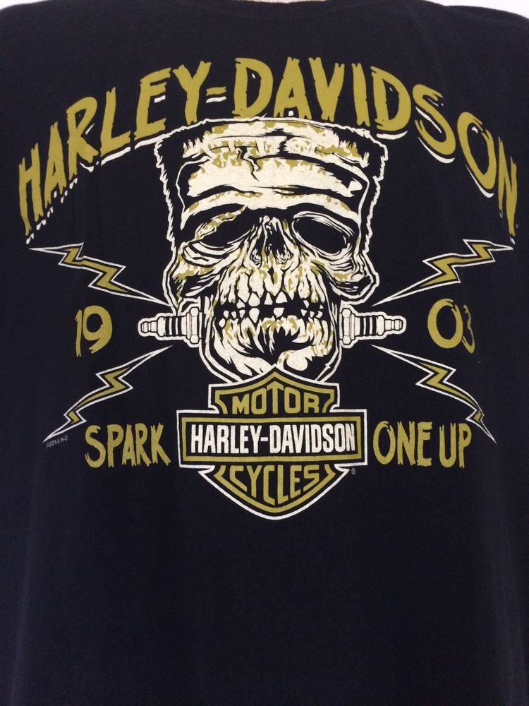 Harley davidson shirt spark one up frankenstein monster for T shirt printing brandon fl