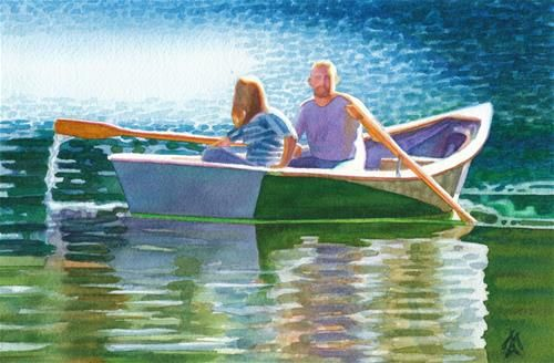 """Daily Paintworks - """"Rowing on Clearlake"""" - Original Fine Art for Sale - © Mark Allison"""
