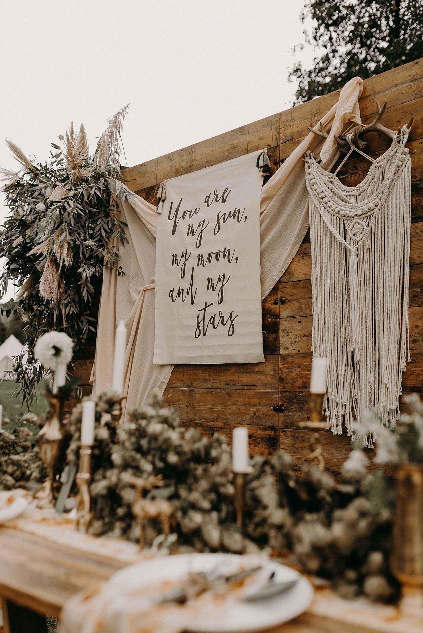 Nude Bohemian Wedding Inspiration with Dried Flowers & Macrame