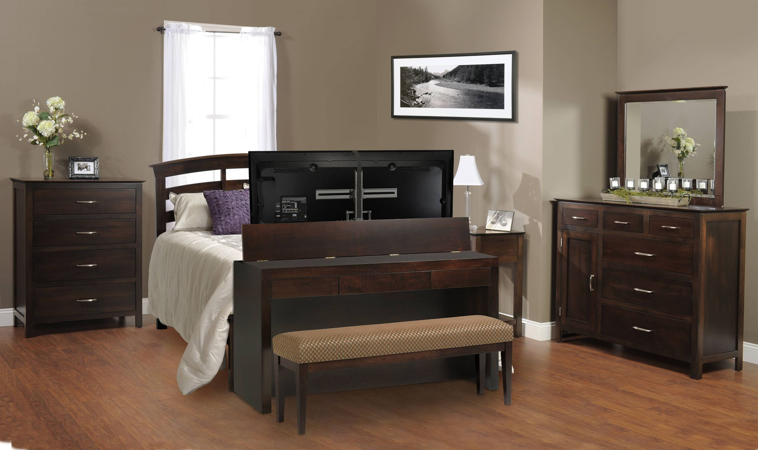 Queen Foot Board Desk Tv Lift W Bench Multi Functional Hides And Has A Storage Drawer Tvliftcabinet