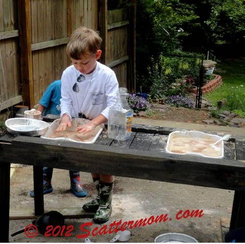 Mudie Pie Table In Action Mud pie kitchen, Mud pie, Mud