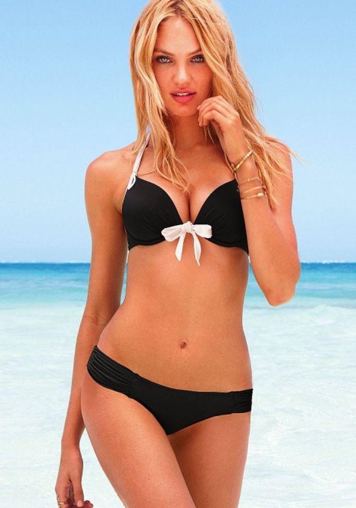 1685c5d58ea4d Victoria Secret VS Beach Sexy Gorgeous Halter Push-up Swim Top Bra Black  White Sale