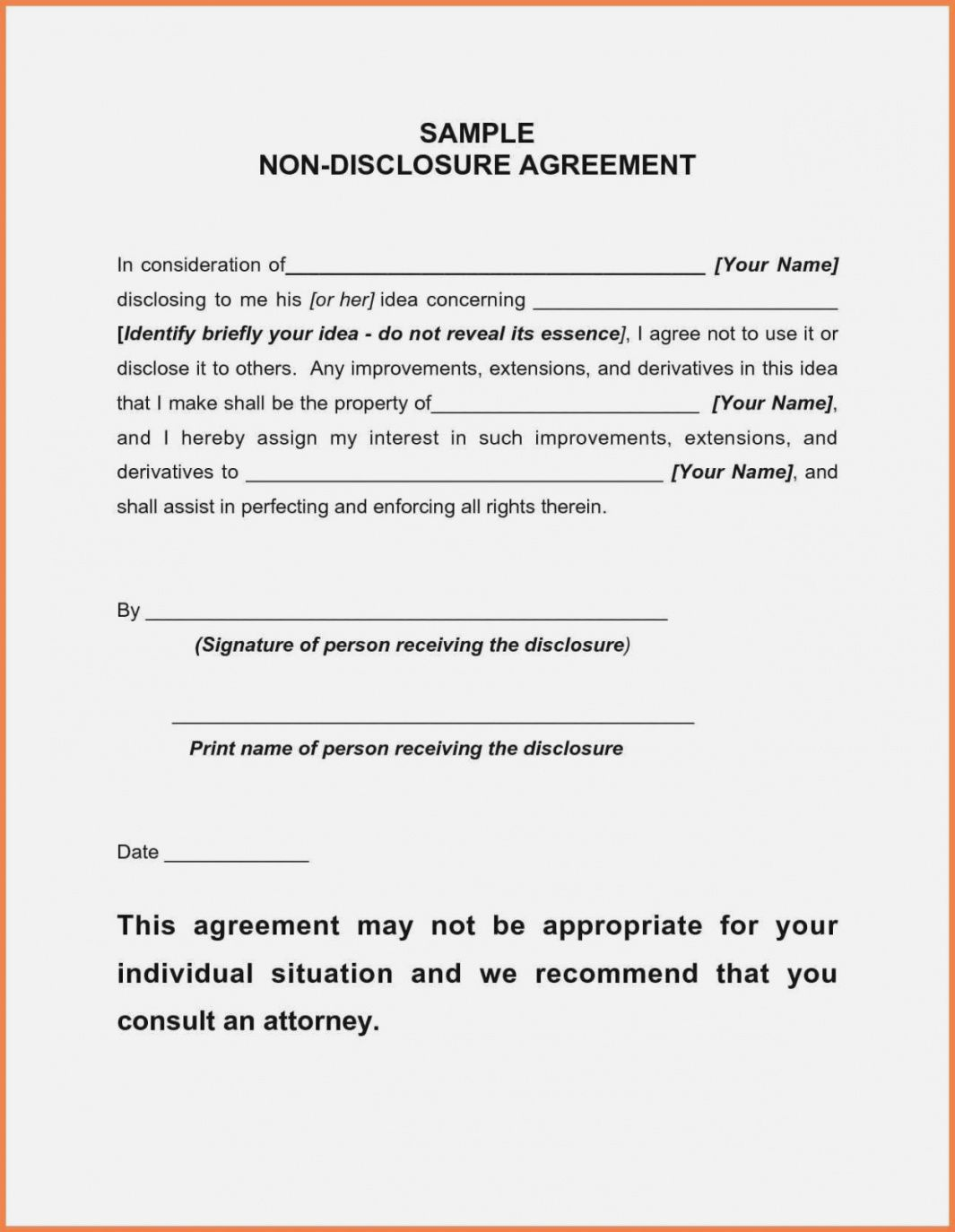 Free Non Disclosure Agreement Template from i.pinimg.com