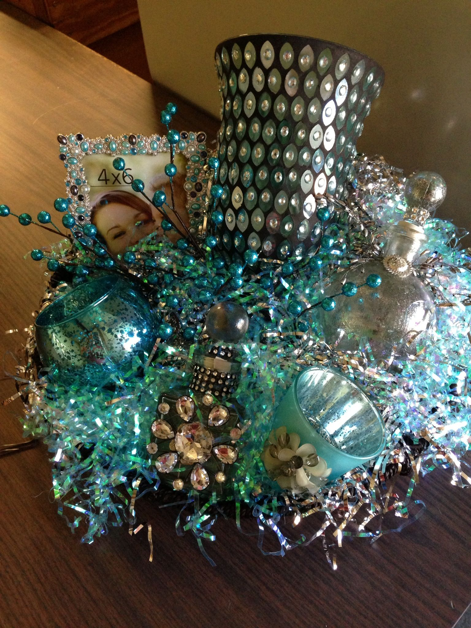 Blue and silver basket....love the colors!