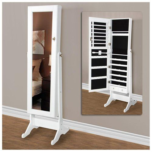 white mirrored jewelry cabinet amoire w