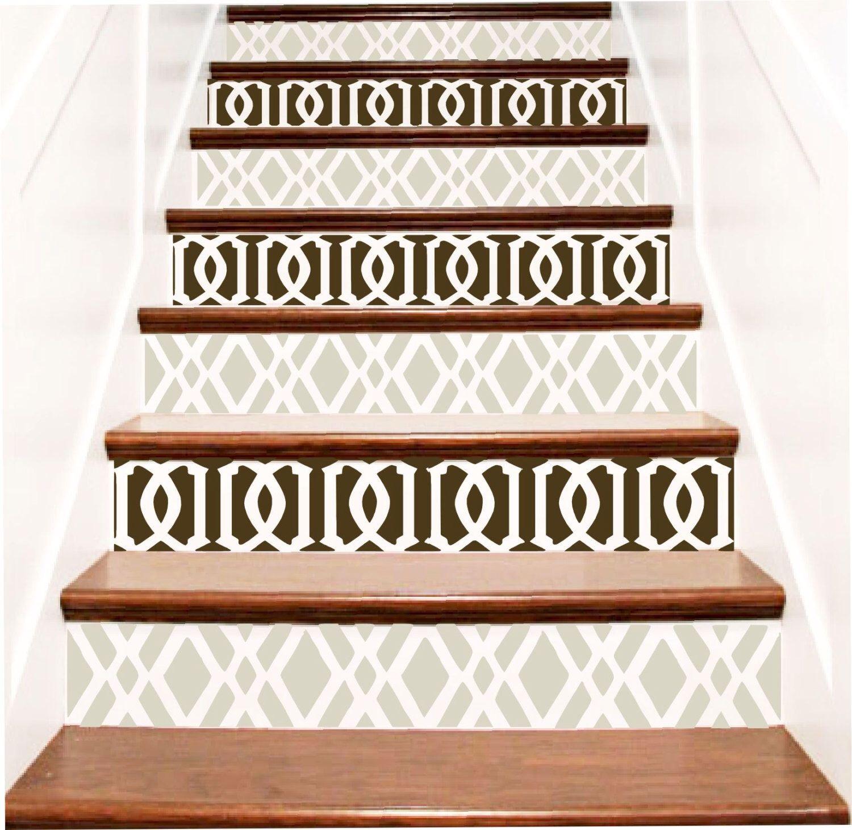 Decorative Vinyl Stair Tile Decals TrellisTWO Geometric Design
