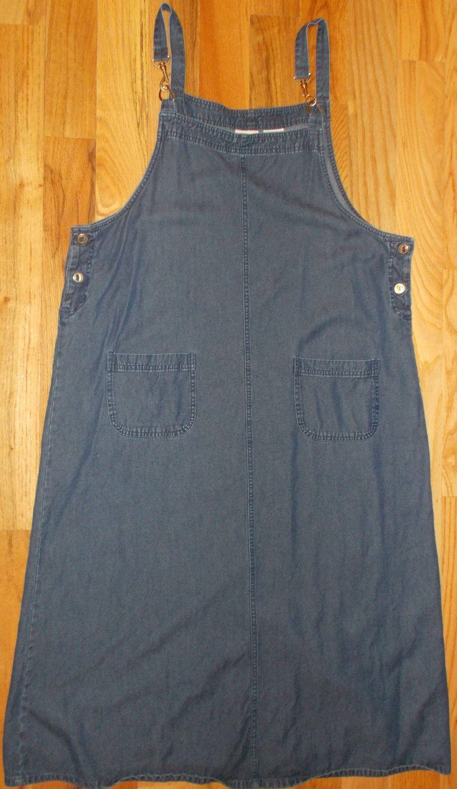 Denim Jumper Dress XL Womens 16 18 MIDI Blue Sleeveless Buckles White Stag 4R3 | eBay