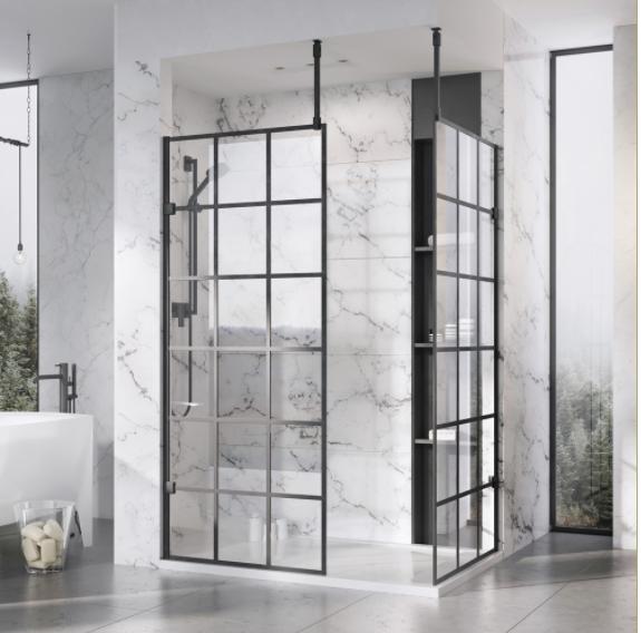 957mm Roman Liberty 10mm Wetroom Black Grid Panel Klcp10gpb Bathroom Trends Bathroom Style Simple Bathroom