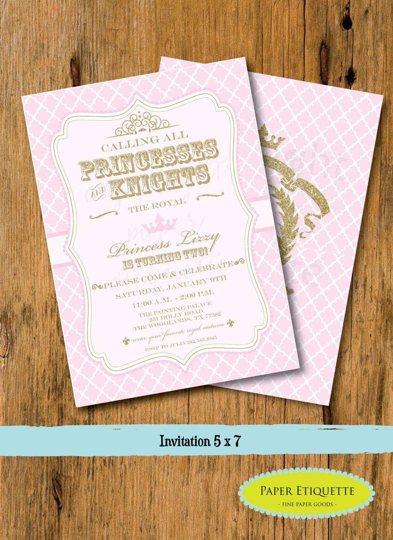 Pink and Gold Princess & Knights Royal Birthday Party Invitation ...