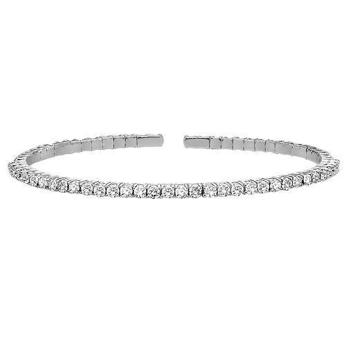 A flexible diamond bangle bracelet that is set with diamonds at