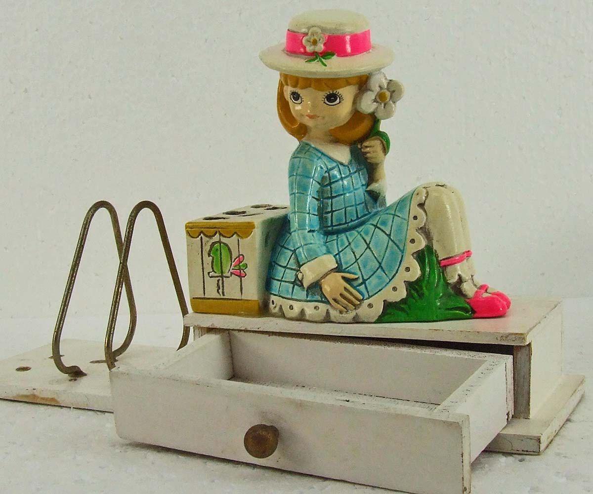 Vintage Retro Kitsch Earl Bernard Young Girl Figurine Letter Holder Bird Cage Pencil Holder Little Drawer by RetroCentsStudio on Etsy