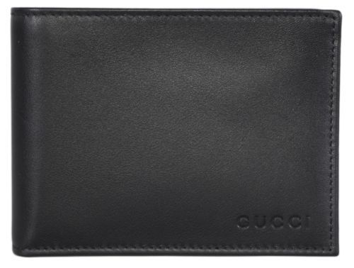 8ed1d5f2508 NEW Gucci 278596 Men s Smooth Black Leather Trademark Logo Bifold Wallet