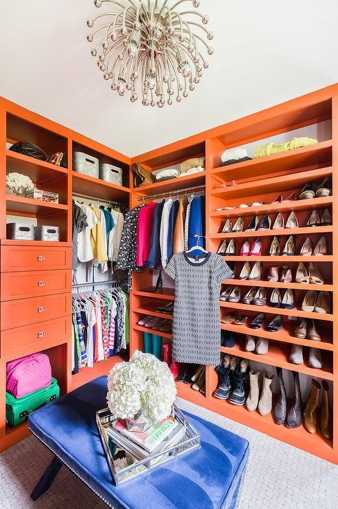 Exceptionnel Emily Lister Interiors   Orange Closet Features An Anemone Flushmount  Illuminating Orange Built In Shelves And Cabinets Fitted With Shoe Shelves  And A ...