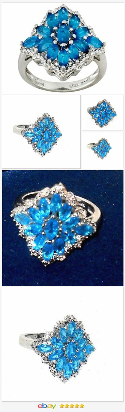 Neon Apatite Blue Ring 1.75 carats size 7 USA Seller #ebay http ...