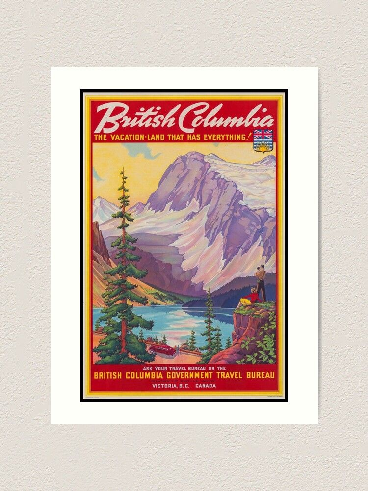 British Columbia Vintage Travel Poster Kunstdruck Von