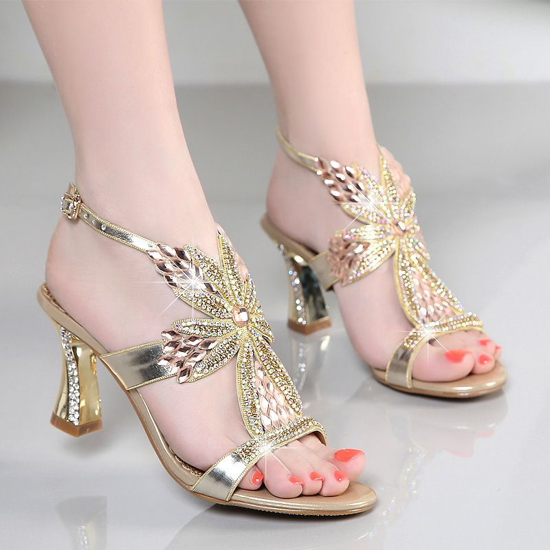 9702a17c5a83 2017 new sandals female summer high-heeled shoes with diamond-studded high  heels sexy Korean thick heels women sandals
