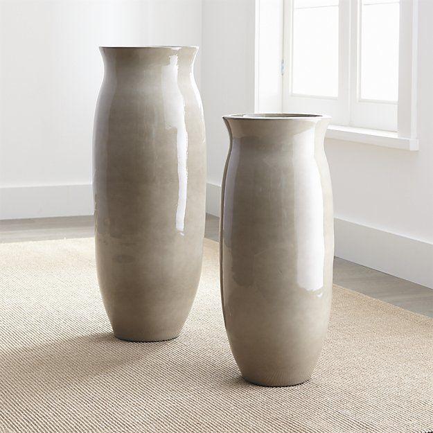 Hewett Tall Ceramic Floor Vase Crate And Barrel In 2020 Ceramic Floor Floor Vase Tall Floor Vases