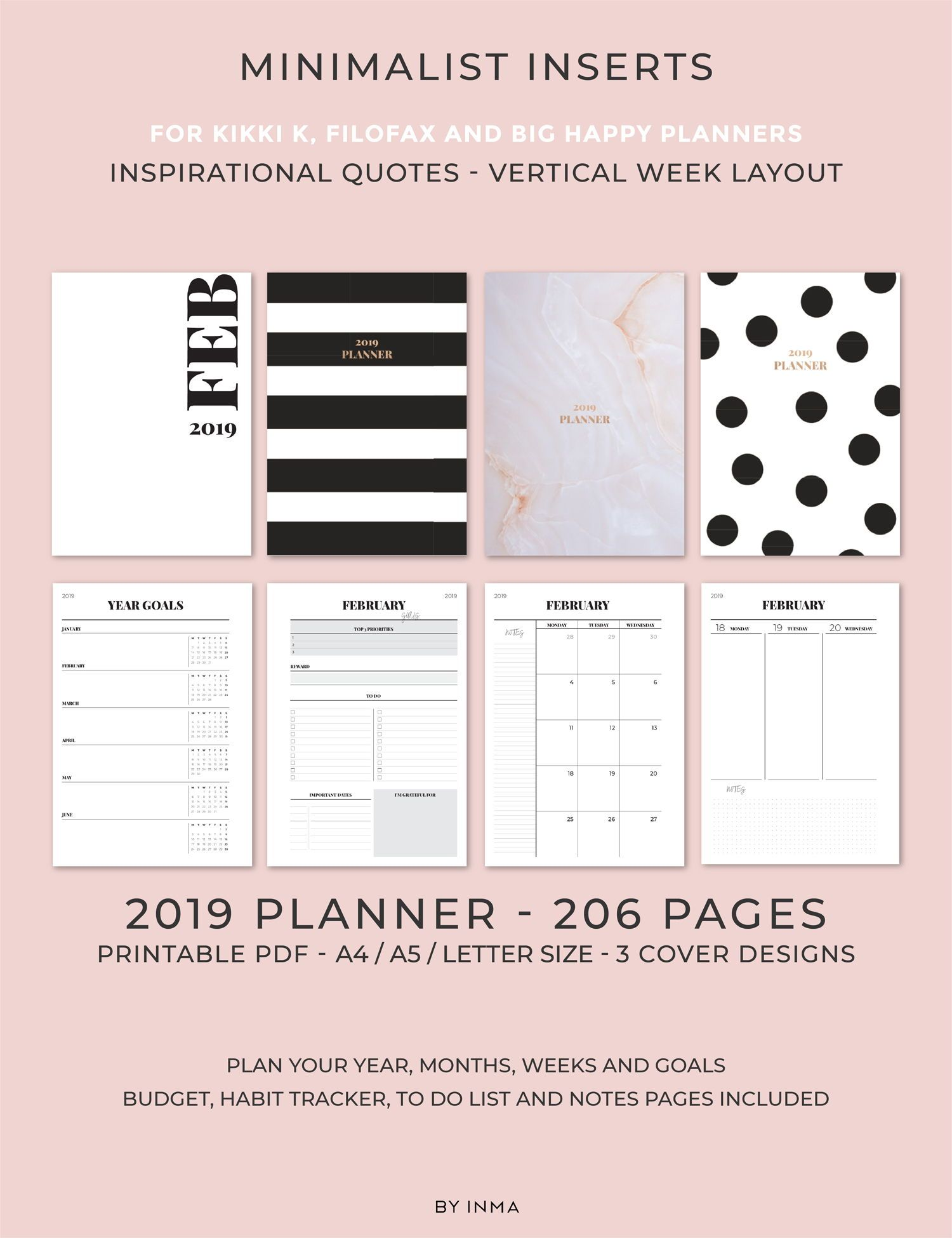 2019 Planner Printable Weekly Planner Vertical Layout Monthly