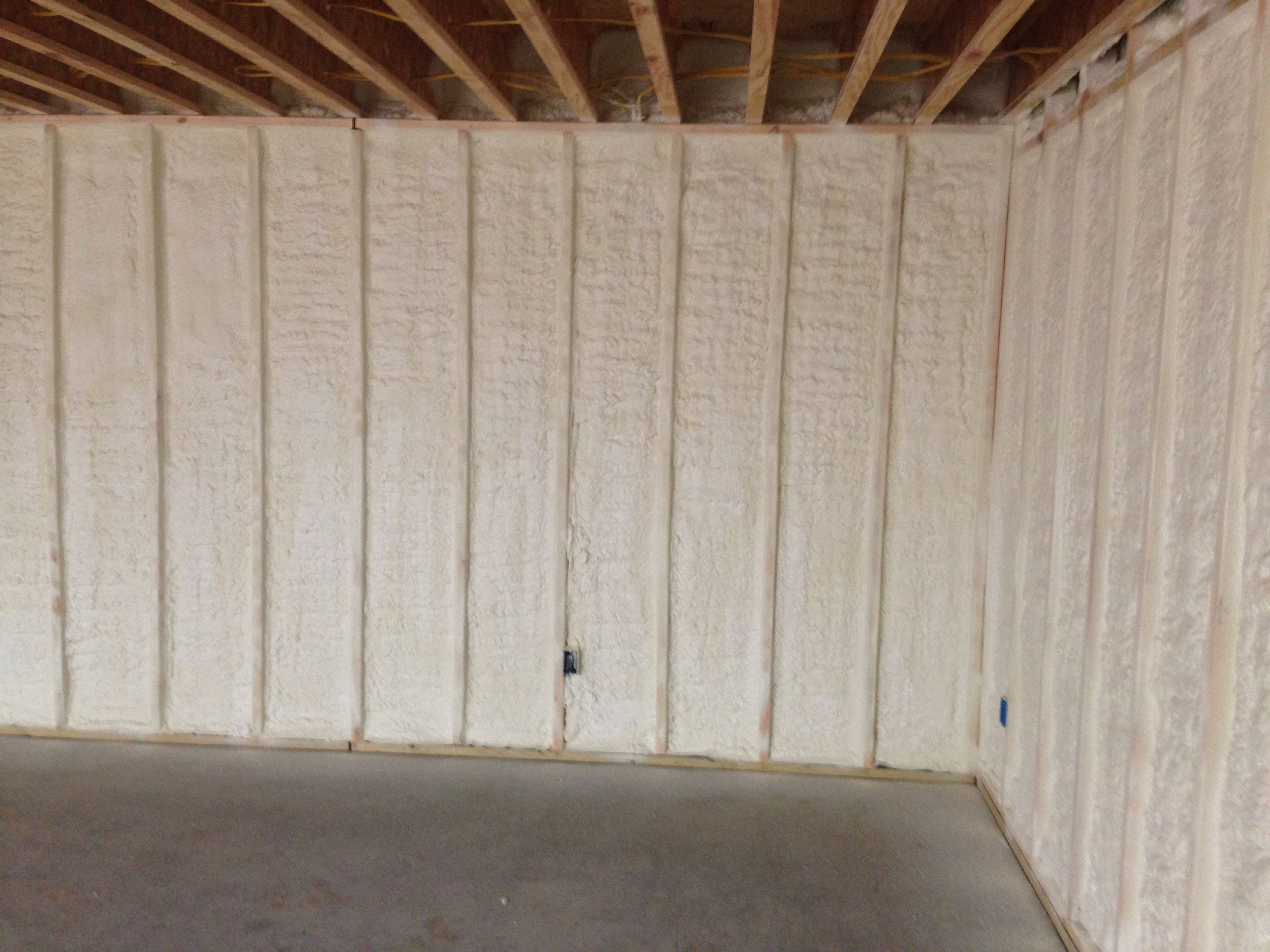 Closed Cell Spray Foam Insulation On Basement Wall Www Mpifoam Com Basement Makeover Remodeling Mobile Homes Basement Built Ins