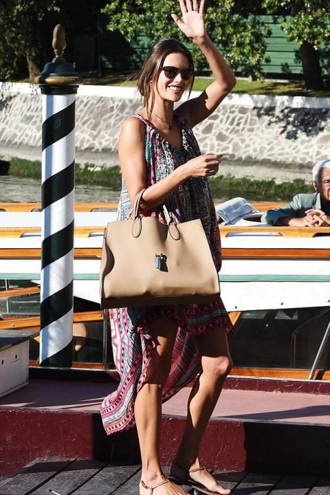 Alessandra Ambrosio wearing Sam Edelman Gigi Sandals in Saddle and Gucci  Jackie Soft Leather Top Handle