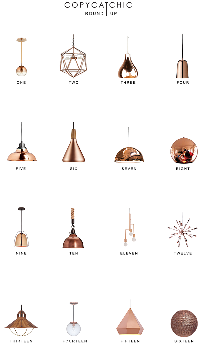 Copper Pendant Lighting Roundup #lightingdesign A roundup of our favorite rose gold chandeliers and copper pendant lighting from Copy Cat Chic. Luxe living and designer looks for less. #pendantlighting