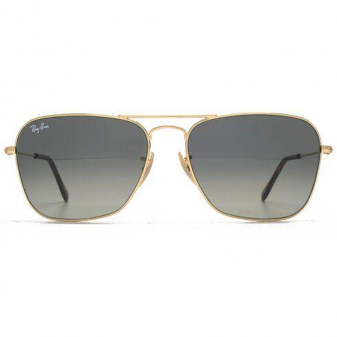 e955ac7ec4 Ray-Ban Caravan Square Aviator Sunglasses in Gold Gradient Grey RB3136  181/71 58