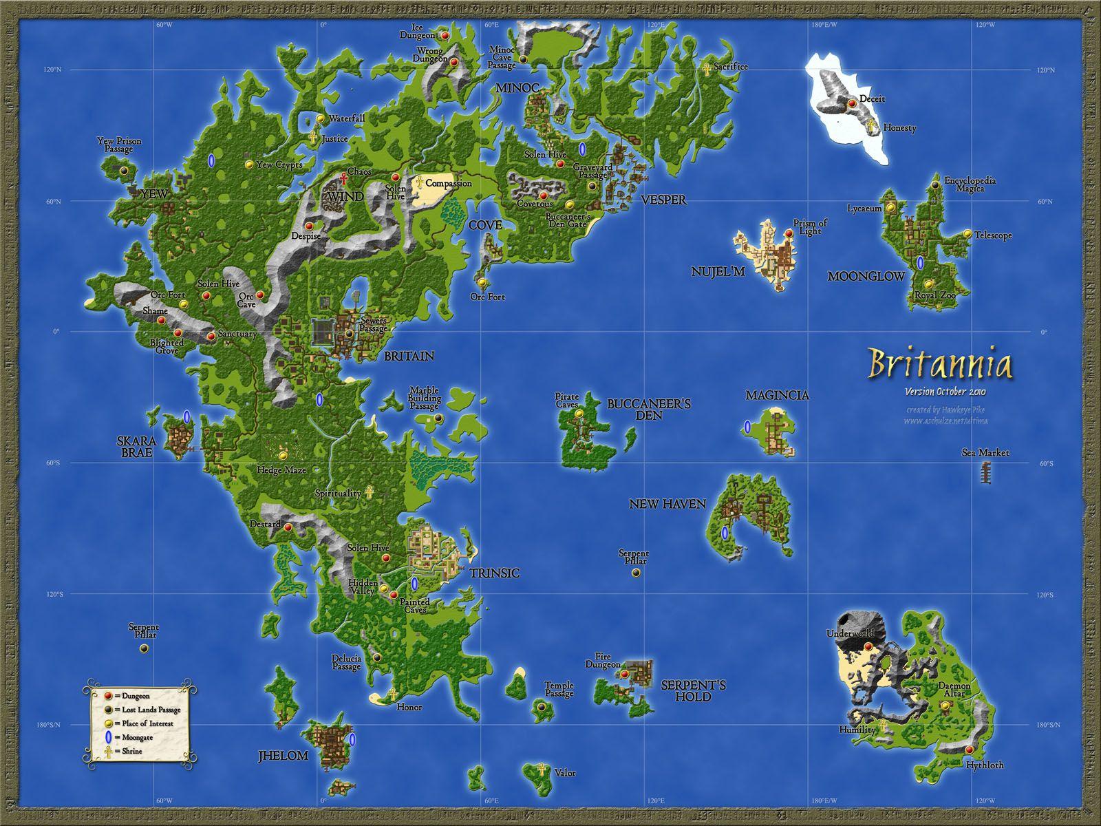 Ultima Online World Map Ultima Online Map | Ultima online, Game art, Funny games