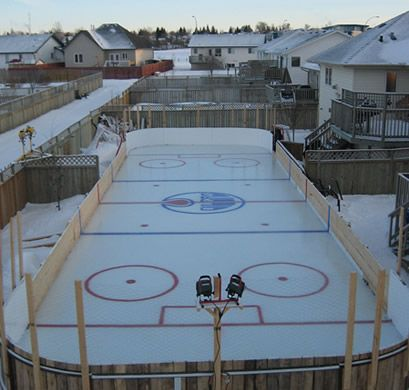 This Huge Backyard Ice Hockey Rink Is In Sylvan Lake Alberta, Canada. Its  The Creation Of Shane Cyrenne And His Neighbor Chris McNeil.