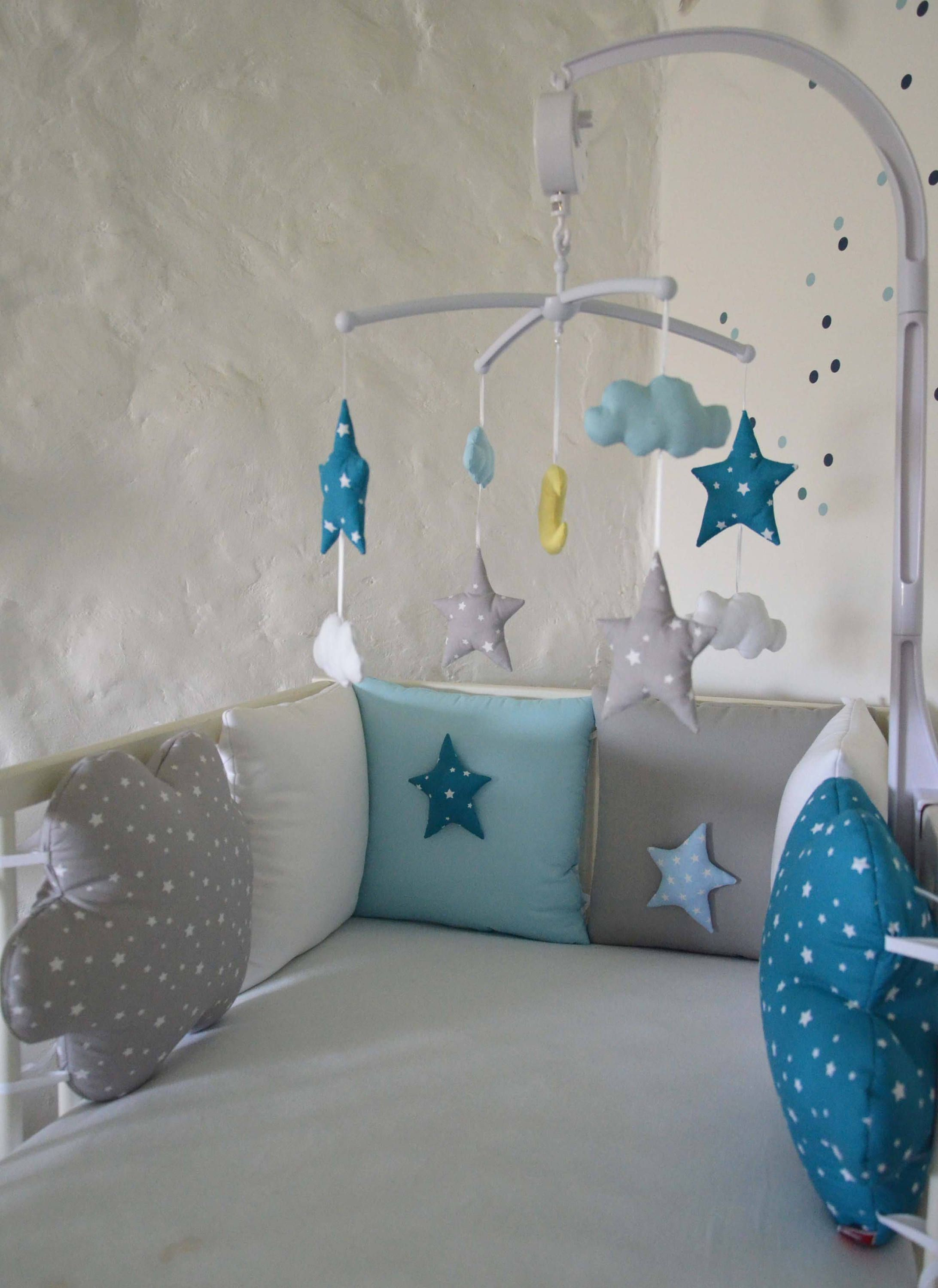 Mobile Musical Baby Boy Iced Stars Clouds Stars And Moon