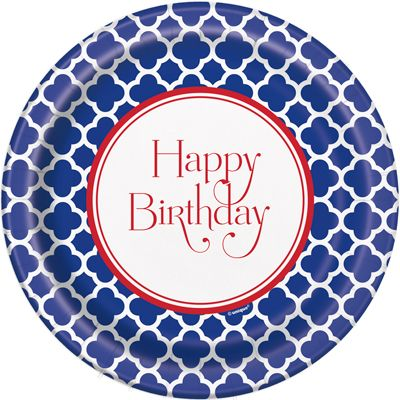 This Happy Birthday Quatrefoil Print Is Great For Any Party! We Love This Royal Blue and Red Combo. Check Out Our Website To See More Of Our 200 Party Supply Themes!