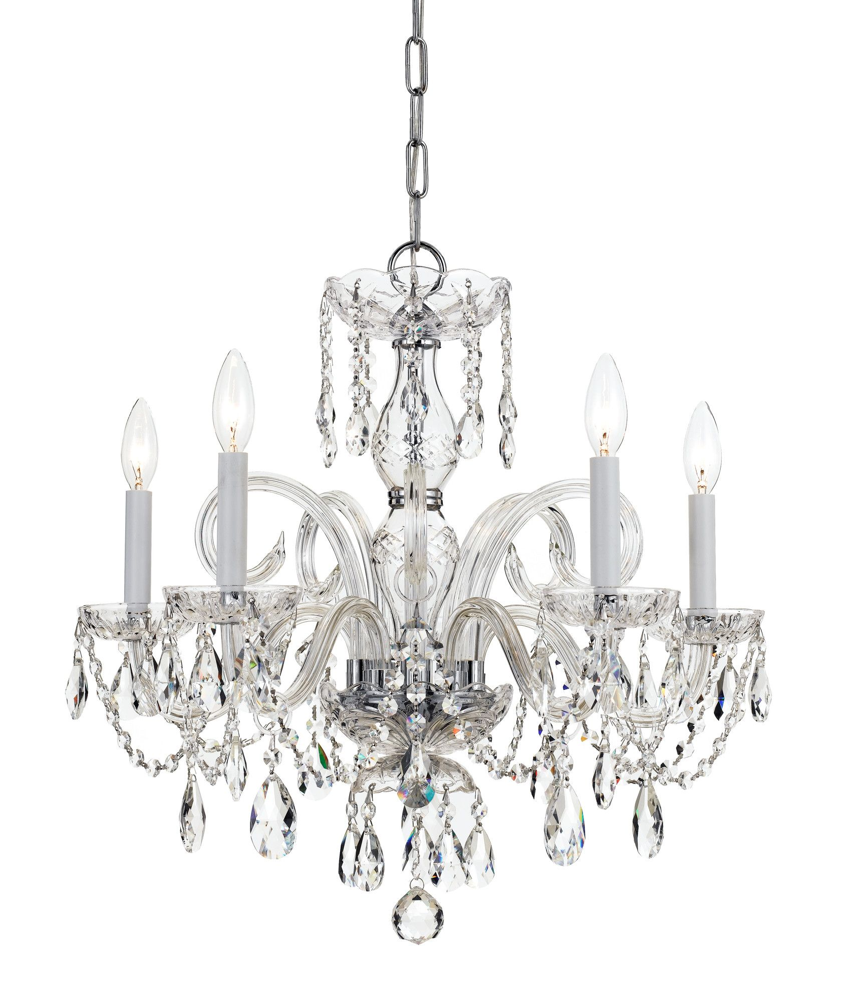 Traditional crystal 5 light glass chandelier products pinterest traditional crystal lighting fixtures are classic timeless and elegant crystoramas opulent glass arm polished chrome chandelier dressed in clear hand arubaitofo Gallery
