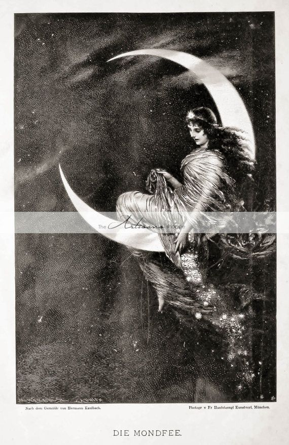 Digital Download Printable  Woman with Moon by TheArtisansShoppe