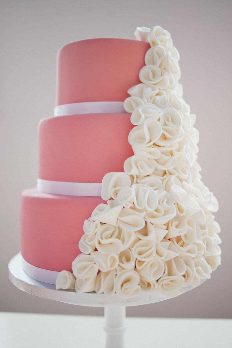 Pretty Pink Cake With Floral Adornments