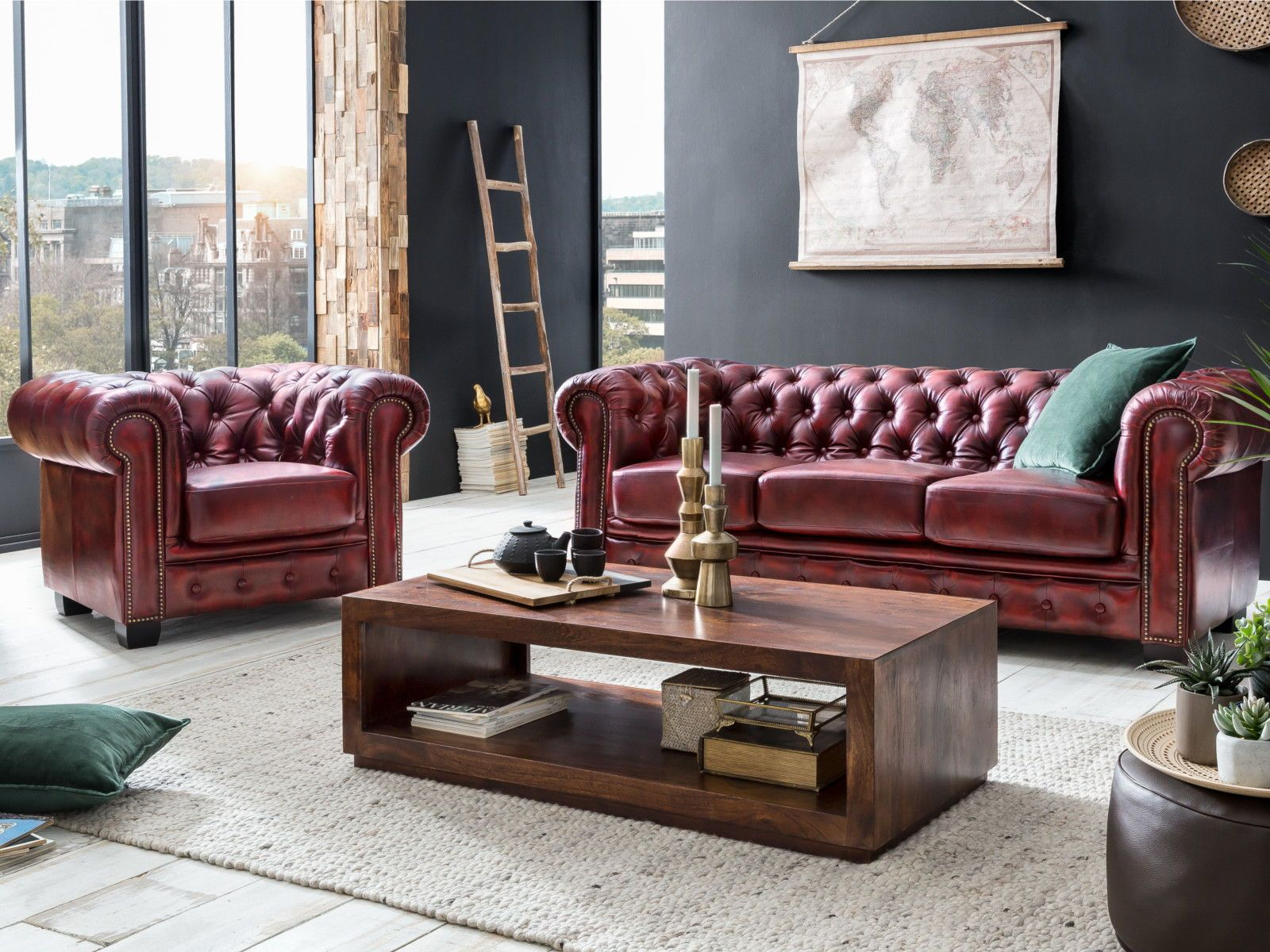 Chesterfield Sofa Garnitur antik rot in 7  Chesterfield sofa
