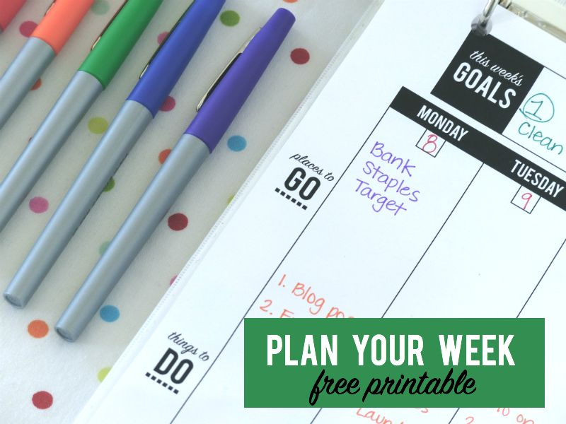 Weekly Planner. Free Weekly Planner Pages.