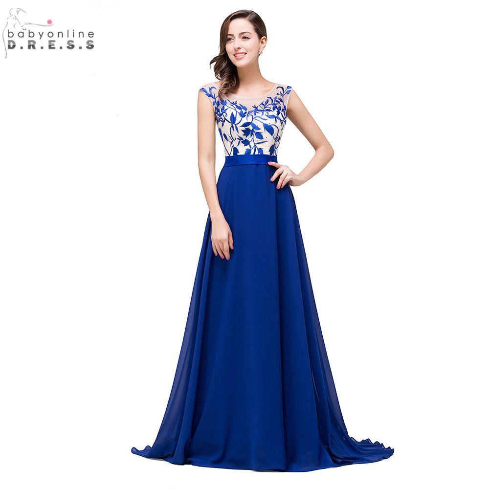 Barato Vestido de festa longo sexy open back azul royal apliques de ...